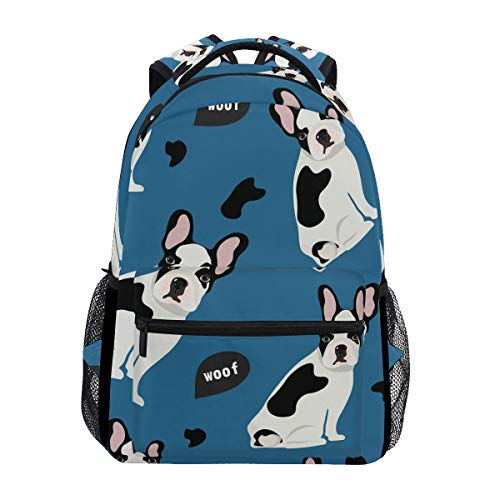 ALAZA Cute French Bulldog Animal Print On Blue Large Backpack Personalized Laptop iPad Tablet Travel School Bag with Multiple Pockets