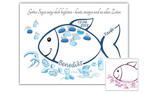Fingerabdruck Fisch Taufe personalisiert, Poster, Tauffisch Geschenk, Taufe als Gästebuch Alternative, Fingerabdruck Baum Taufe, Taufgeschenke für Mädchen und Jungen