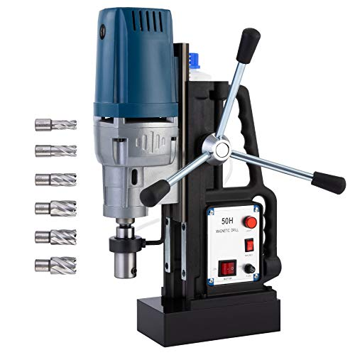 CO-Z 1550W Electric Magnetic Drill Press w 2 inch Boring Diameter Core Drill Bit Set, Portable Heavy Duty Power Mag Drill 3500lbf Electromagnet Drilling Machine for Any Surface and Home Improvement