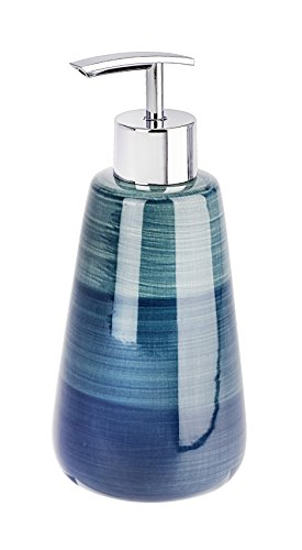 Wenko 22647100 Polaris - Dispenser di sapone in ceramica, 8 x 8 x 17,5 cm, colore: Petrolio