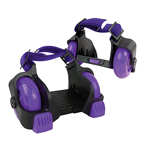 New-Bounce Heel Wheel Skates - Jet Wheelies for Shoes - Adjustable Roller Heel Skates for Kids - One Size Fits Most (Purple)