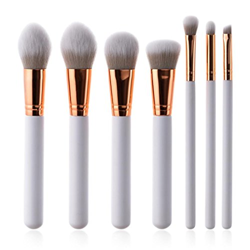 OHQ 7 Set De Pinceaux Maquillage Manche En Bois Haut Gamme PoignéE Blanche X Pro Foundation Poudre à PaupièRes Eyeliner Lip Brush Tool Blanc Enfant Fille Professionnel Pinceau Sigma