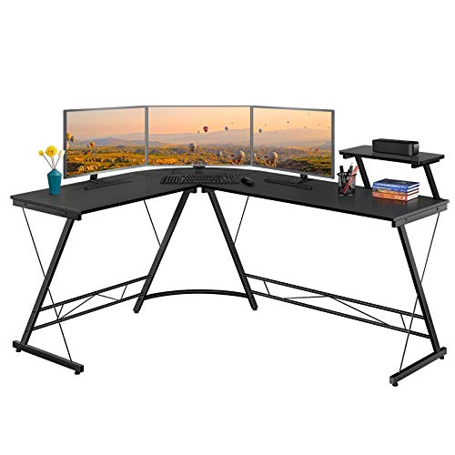 YAHEETECH 64 inch Modern Corner Computer Desk Now $78.29
