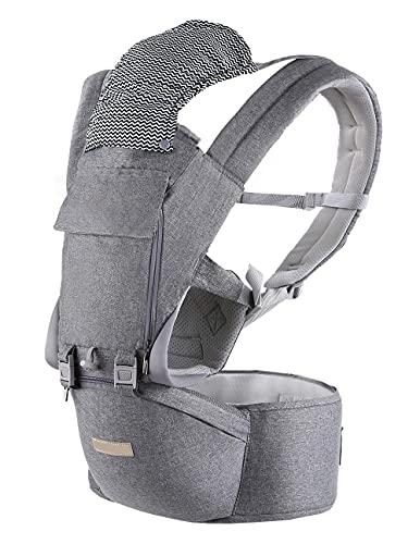 Marsupio Neonati Ergonomico|Porta Bambino con Sedile Multiposizione 6-in-1|Fascia Porta Bebè(Posizione Ergonomica M) da 3-36 Mesi, Puro Cotone, Traspirante e Regolabili-Grigio