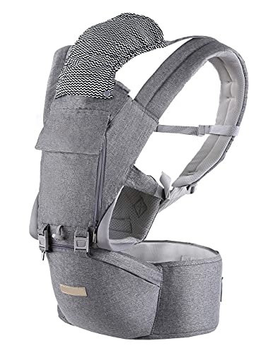 Baby Carrier, Multifunction Baby Carrier Hip Seat (Ergonomic M Position) for 3-36 Month Baby, 6-in-1 Ways to Carry, All Seasons, Adjustable Size, Perfect for Hiking Shopping Travelling