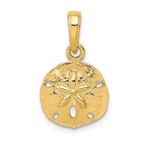 Sanddollar-Anhänger, 14 Karat Gold, poliert-JewelryWeb
