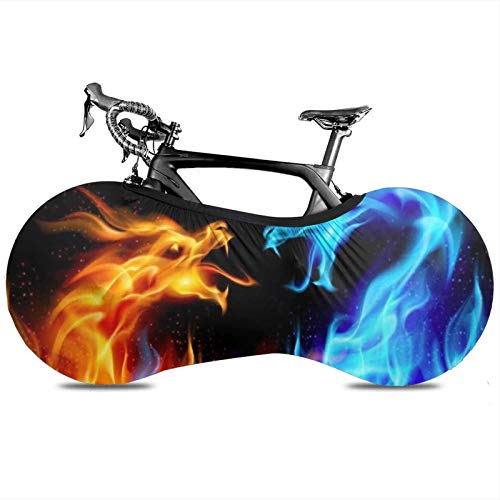 BYTKMRY Ice and Fire Conflict Bicycle Wheel Cover, Anti-Dust Bike Indoor Storage Bag Scratch-Proof Washable High Elastic Tire Package Fit All Bicycles Protective Gear Garage