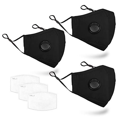 3 PCS Unisex Washable Reusable 3 Layers Adjustable Comfortable Protective Cotton Face Madks with Filters(3, Black)