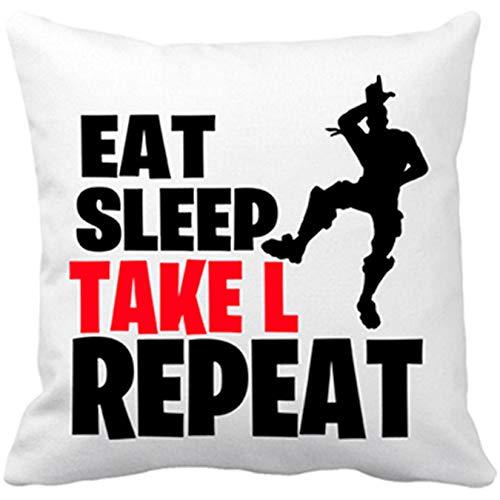 Cojín con Relleno Eat Sleep Take L Repeat - Blanco, 35 x 35 cm
