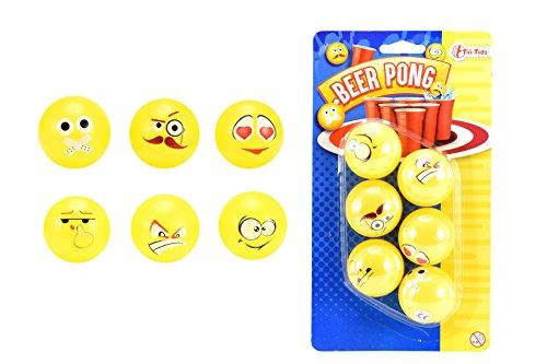 Toi-Toys 51017A Bière Balle de Ping-Pong Emoji Design Figur, Mehrfarbig