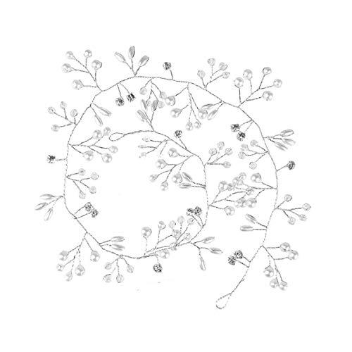 Tocado de pelo de vid de 35 cm para novia de boda de plata perla