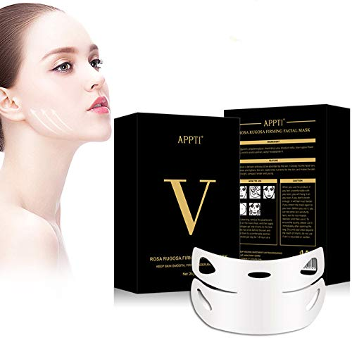 Permotary 5 PCS V Shaped Facial Masks V Line Chin Lift Patch Chin Up Tightening Mask Great for Chin Up & V Line, Double Chin Reduce, Firming Moisturizing & Contour Lifting