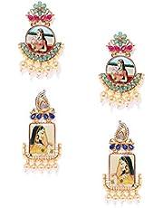 Zaveri Pearls Combo of 2 Gold Tone Padmavati Inspired Dangle Earring For Women-ZPFK7934