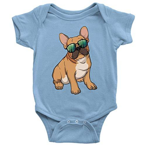 Migsrater French Bulldog Summer Clothes Newborn Onesies Short Sleeve Unisex Baby Bodysuit Light Blue