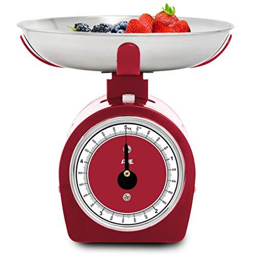 ADE KM1900-2 Küchenwaage analog KM 1900-2 Shirley (mechanische Waage für Küche und Haushalt, Metallgehäuse), 5 kilograms, Rot