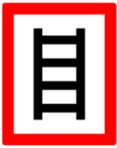 LEMAX® Aufkleber Hinweisschild zum Anleitern gemäß DIN 4066 Folie selbstklebend 250 x 200 mm (Brandschutz, Feuerleiter) wetterfest