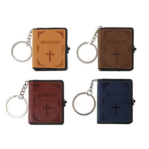 yhdcc44 Schlüsselanhänger aus Leder mit Aufschrift Holy Bibel, Miniatur-Buch christlicher Jesus, color2, m