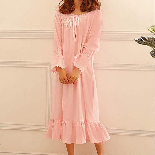 XFLOWR Pyjama Ensemble Automne Coton Rose Princesse Chemise de Nuit Doux Confortable pour Les Femmes Grande Taille Baggy Pijama Manches Longues Sommeil Porter Robe de Couchage M