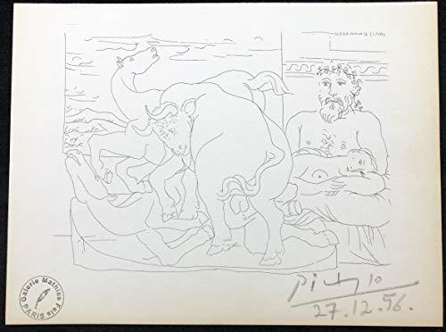"""Desconocido Pablo Picasso – """"El Reposo del escultor Ante Dos Caballos y un Toro"""". S.V. 57. COA."""