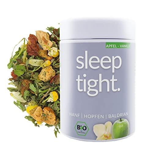DrinkTea Sleep Tight Bio Gute Nacht Tee   natürlich süß   loser Superfood Kräutertee   Hanf, Hopfen, Baldrian, Fenchel, Lavendel   Abend-Tee   Apfel-Vanille