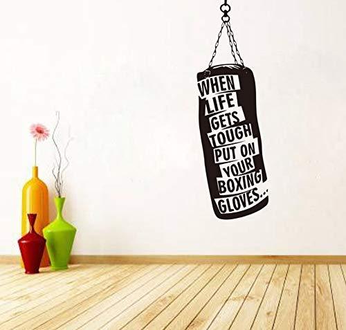Pegatina De Pared Saco De Boxeo Guantes Boxeo Calcomanías De Pared Motivacionales Fitness Gimnasio Hobby Cita Pegatinas De Vinilo Diy Art Decor 148X50Cm