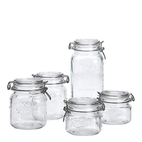 Mason Craft & More - Tarros herméticos de cristal transparente para almacenamiento de alimentos