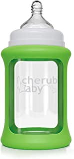 Cherub Baby Color Change Glass Bottles Wide Neck 240ml Single Pack, Green