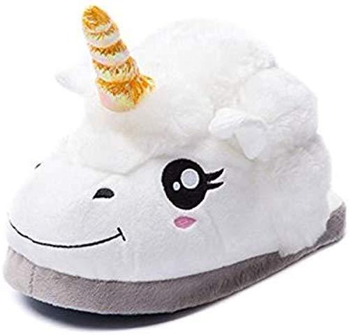 Super Fashion Einhorn Schaf Schuhe Weichem Plüsch Hausschuhe Einhorn Erwachsene Geschenke (Weiß)