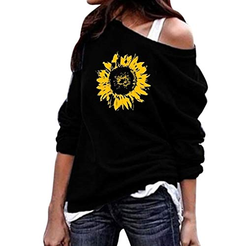 〓COOlCCI〓Women Sweater Casual Oversized Baggy Loose Fitting Shirts Batwing Sleeve Sunflower Print Pullover Tops Sweatshirt Black