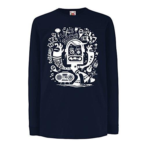 N4360D La Camiseta de los niños con Mangas largas Bailarina Friki (9-11 Years Azul Multicolor)