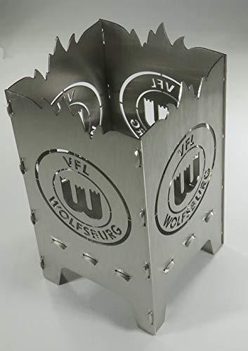 Generisch Design Teelicht aus Stahl VFL Wolfsburg Logo 9 x 9 x 15 cm