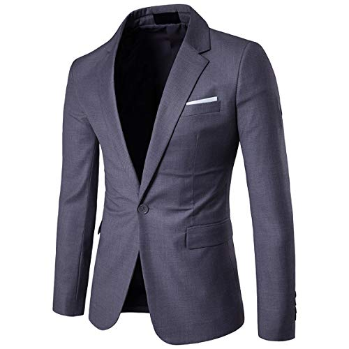 Cloudstyle Men's Suit Jacket One Button Slim Fit Sport Coat Business Daily Blazer,Dark Grey,Large