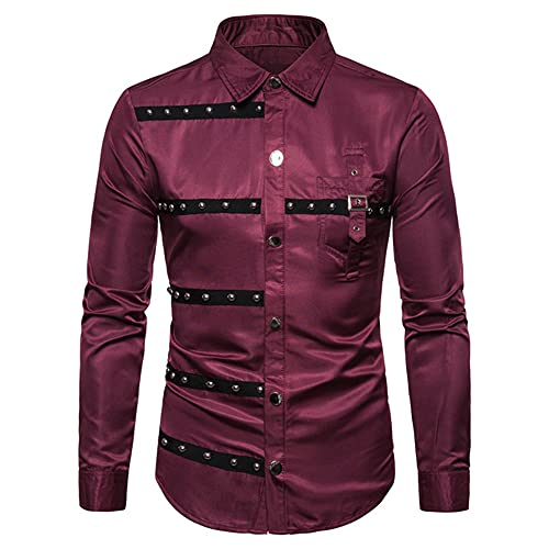 Hip Hop Rivet Men Long Sleeve Casual Shirts Slim Uniform Stage Men's Clothing