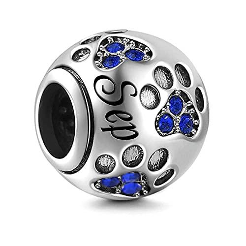 Pandora 925 Colgante de plata esterlina Diy Color plata Charm de piedra natal Ajuste original mm Pulsera y brazalete Fabricación de joyas de moda para mujeres Septiembre