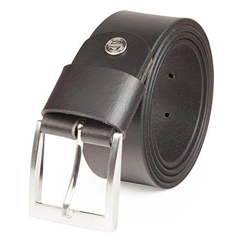 Lindenmann Mens leather belt/Mens belt, full grain leather belt XXL, buffalo leather, black, Farbe/Color:noir, Size:135