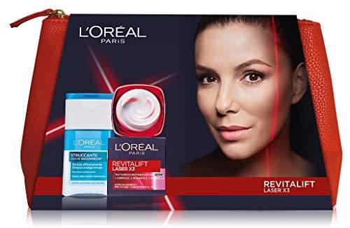 L'Oréal Paris Idea Regalo Donna Natale 2020, Pochette con Crema Viso Giorno Revitalift Laser X3 50 ml e Struccante Occhi Waterproof 125 ml