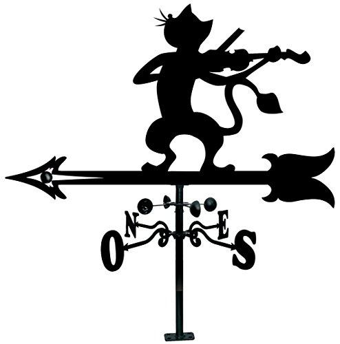 Arthifor Dachschindel, Katzen-Silhouette, mit Violine, Schwarz matt