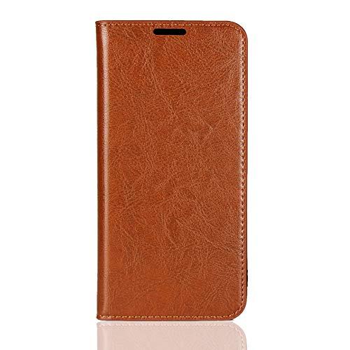 Sunrive Kompatibel mit Oppo R7/R7 lite Hülle,Echt-Ledertasche Schutzhülle Standfunktion Flip Lederhülle Hülle Handyhülle Schalen Kreditkarte Handy Tasche MEHRWEG(Braun gelb)
