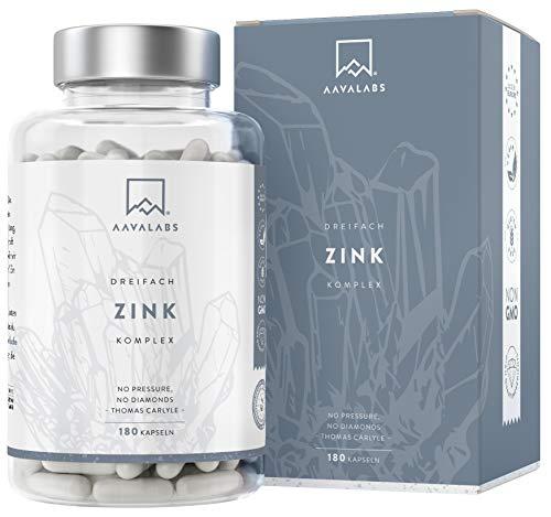 Zink Komplex [Zink 25mg] mit Vitamin C - 3X Arten hochdosiertes Zink: Picolinat, Monomethionin + Bisglycinat (Chelat) von Albion® - Zink Tabletten hochdosiert - Vegan & laborgeprüft - 180 Kapseln