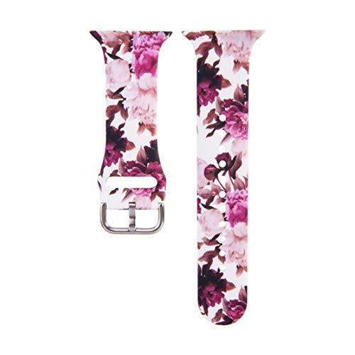 Correa de silicona con estampado de leopardo para Apple Watch Band 44MM 40MM 38MM 42MM Correa de pulsera floral para iWatch Series 6 SE 5 4 3 2 1