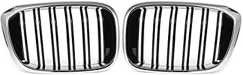 Zaaqio Parrilla Delantera de riñón, para BMW X3 G01 / X4 G02 2018 2019 2020 Parrillas de Carreras de Carbono Negro Brillante Accesorios para automóviles Par Auto 2 Listones Dobles, Medio Cromo