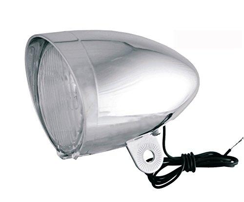 Luz de Bicicleta Faro Foco Delantero Cromado Frontal con Lampara de Dinamo 3511