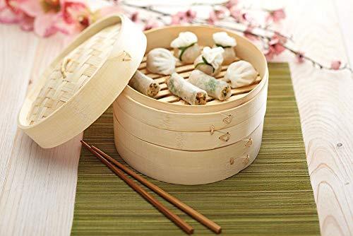 Vetrineinrete® Vaporiera in Legno di bambù per Cottura al Vapore 2 cestelli Contenitore Cesto 2 Ripiani con Coperchio (20 cm) G30