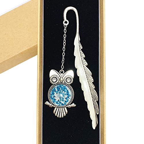 XinTX Owl Bookmark Glow in The Dark Luminous Bookmark Book Marker Metal Bookmarks for Book Lovers Gift