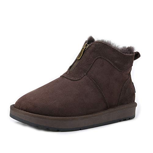 INOE CREATE GLAMOUR Genuine Sheepskin Leather Natural Wool Fur Lined Men Winter Snow Boots with Zipper Short Ankle Winter Shoes for Men Chocolate