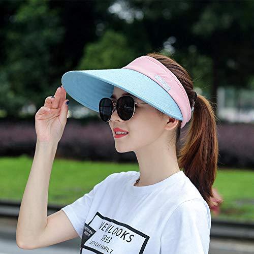 Gbksmm Sport Leerer Zylinder Golf Tennis Visier Hut Baseball Adult Caps Frauen Verstellbare Größe Outdoor Cap Freizeit Sun Running Hat-Pink Und Blau_Freie Größe