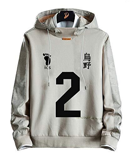 Sudadera de forro polar para hombre y mujer diseo de anime Dnnes Vlies con capucha para disfraz de Karasuno para colegio voleibol club Sugawara Koushi NO.2 color gris talla M(pecho 101cm)