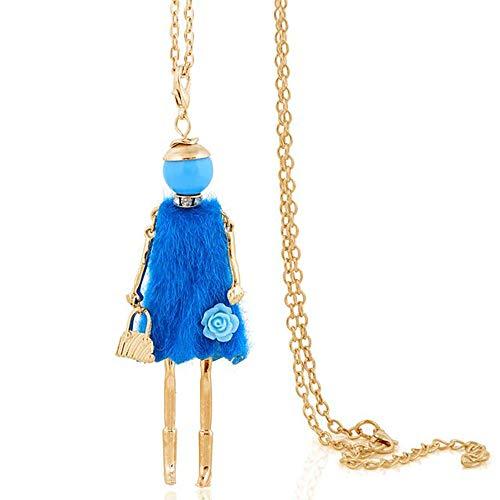 24 JOYAS Colgante Muñecas de Moda para Mujer con Cadena de eslabones de y Diferentes diseños (Azul)