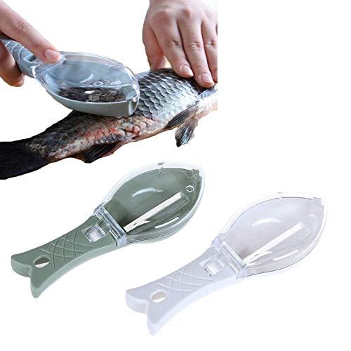 2 StüCke Fischentschupper Fischschupper Manuelle,Fischschuppenschaber KüChen Werkzeug ,Praktisches FischschuppenbüRsten,FüR Fischreinigungswerkzeug A2