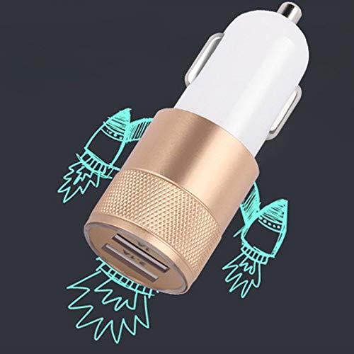 Color Yun Cargador de Coche 2.1A Adaptador de Carga Universal Doble Doble USB Celular para teléfono móvil (Oro)
